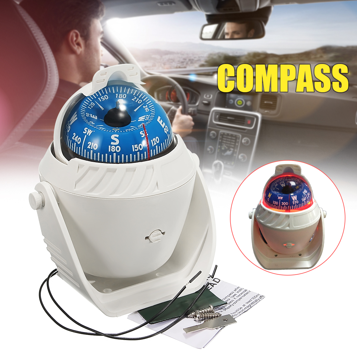 White LED Light Electronic for Travel Vehicle Car Compasses Navigation Sea Marine Military Car Boat Ship Compas
