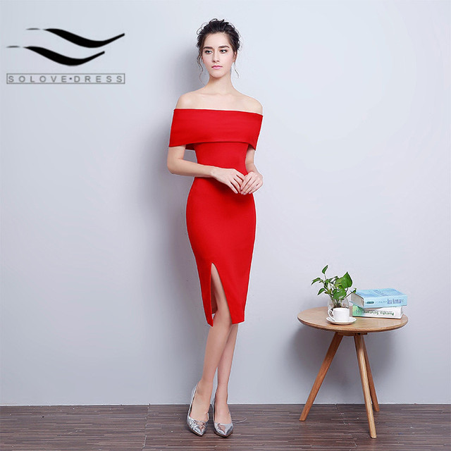 New Style Red Black Wine Satin Boat Neck Short Mermaid Prom dress ...