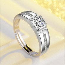 Charms Men Ring Bridegroom Wedding Fine Jewelry S925 Sterling Silver Adjustable Gentleman Engagement Party Ring Drop Shipping
