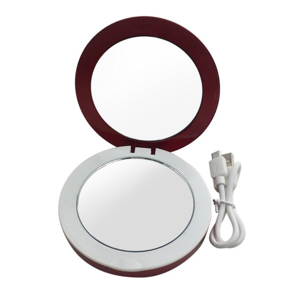 Süß GehäRtet Kleine Größe Reizende Nette Doppelseitige Led Beleuchtete Gesichts Make-up Miror Compact Faltbare Kosmetik Schönheit Make-up Spiegel Schönheit & Gesundheit Spiegel
