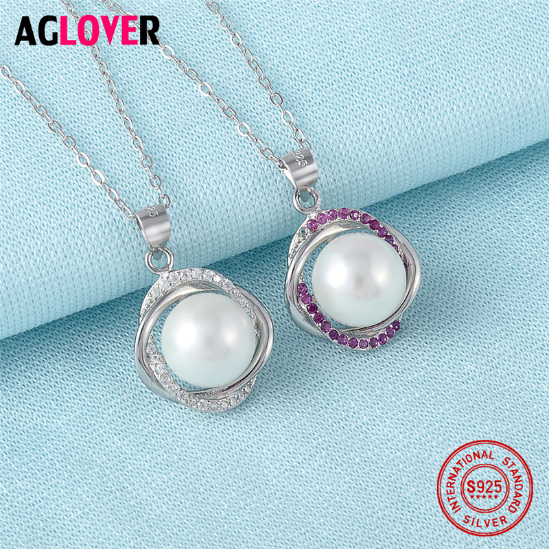 925 Sterling Silver Pearl Necklace Inlaid With AAA Crystal Charm Necklace Woman Jewelry in Necklaces from Jewelry Accessories