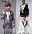 De los nuevos hombres de traje de moda traje de piano esmoquin espectáculo teatral hombres (capa + pantalones + cintura + tie) HF306