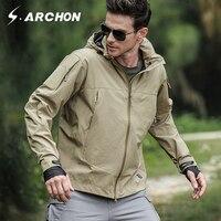 S ARCHON Autumn Soft Shell Windbreaker Tactical Flight Jackets Men Hooded Waterproof Military Pilot Jacket Male