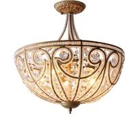 5 Light Ceiling Light In Antique Bronzing / Faceted Crystal Decor / Overall Size: 45cm Diameter 52cm High