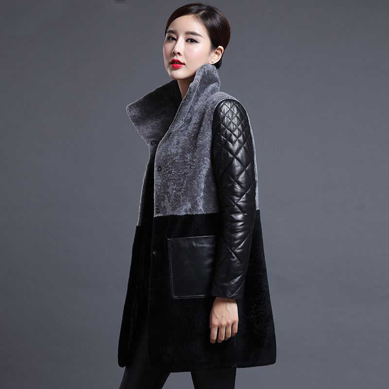New arrival 2019 Winter Wool Fur Coat Women High Quality Long Jackets Fashion Warm Plus Size Leather Down Coat Outerwear M-4XL