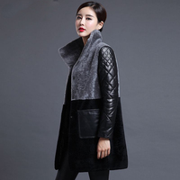 New arrival 2018 Winter Wool Fur Coat Women High Quality Long Jackets Fashion Warm Plus Size Leather Down Coat Outerwear M 4XL