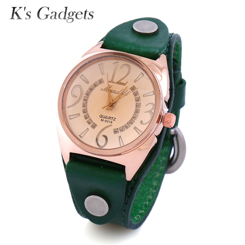 K'S Gadgets Vintage Watch With Wide Leather Womens Watch Big Dial Watch Fashion Military Bracelet Wrist Watch For Women Men