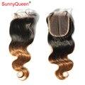 Ensolarados produtos de cabelo rainha 6A 1B 30 peruano Ombre cabelo virgem fechamento rendas nós branqueada Ombre cabelo humano peruano onda do corpo