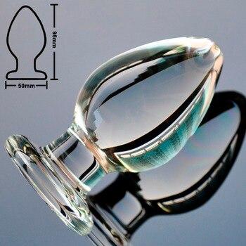 50mm Large crystal butt plug vagina ball big pyrex glass anal dildo bead fake penis adult masturbate sex toys for women men gay
