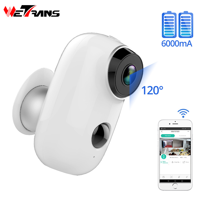 Wetrans Câmera IP Wi-fi Ao Ar Livre Mini Vigilância Camara Bateria Recarregável 720 P HD CCTV Câmeras de Segurança Sem Fio para Casa