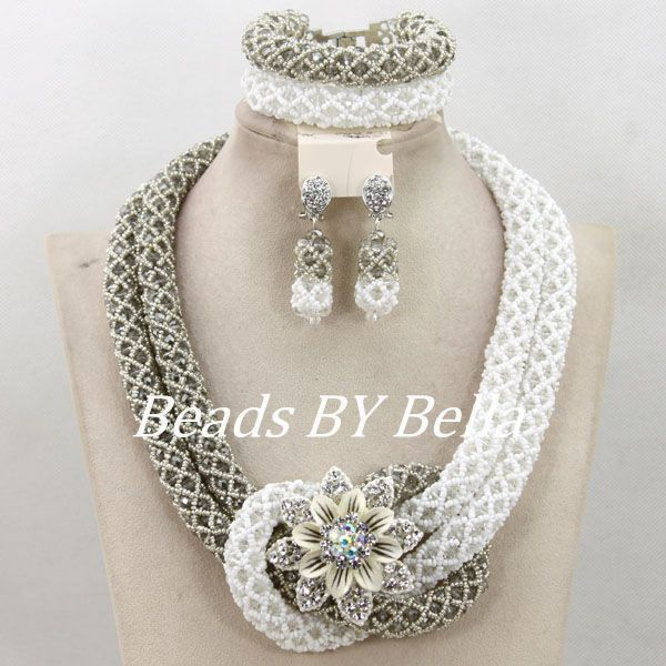 Latest Gray White Beads for Women Nigerian Wedding Statement Necklace Set Bridal Jewelry African Beads Set Free Shipping ABY943