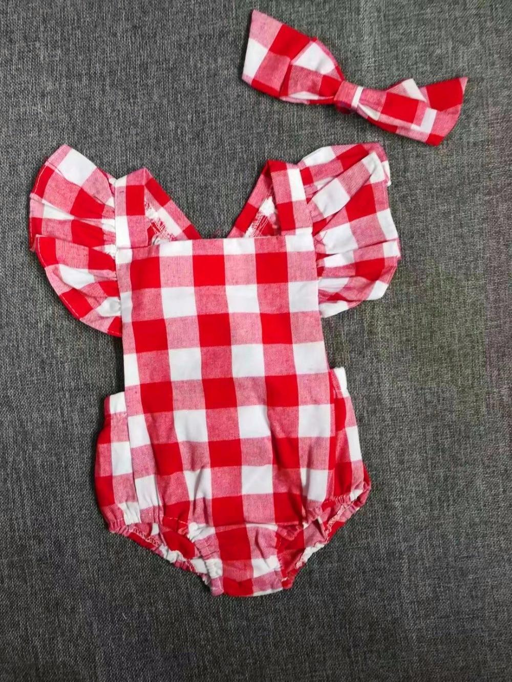빨간색 격자 무늬의 바지에 신생아 여자의 아이들 - 아기 의류