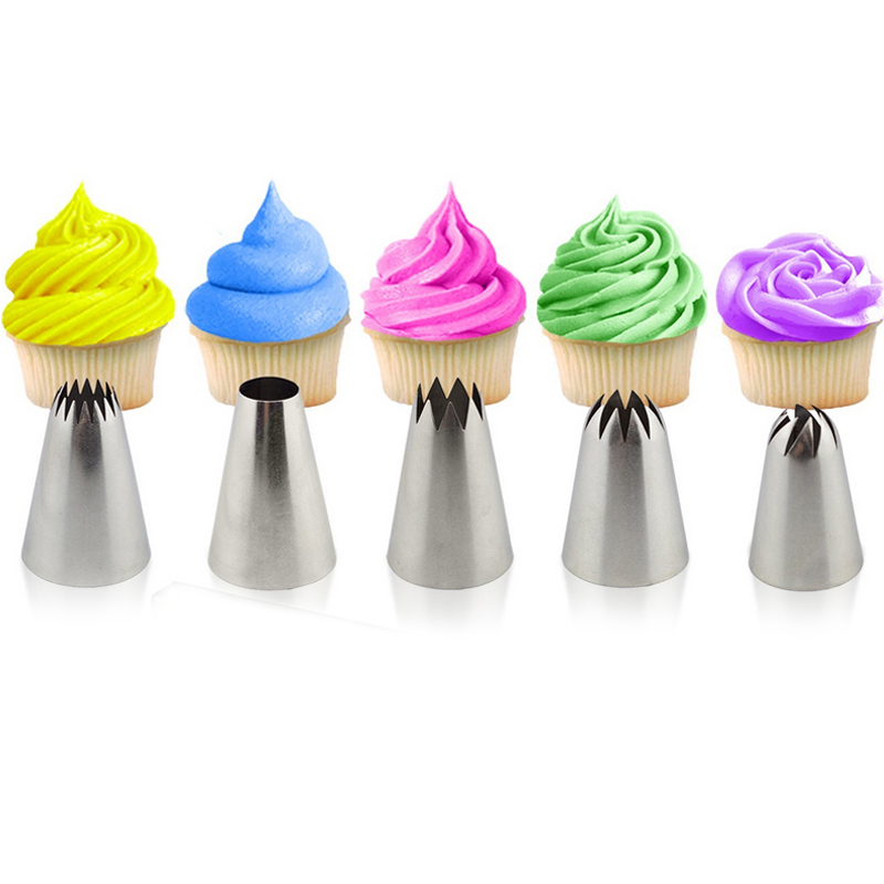 5pcs Tips Pastry Besar Cake Decorating Tools Set Krim Nozzle Icing Piping Bakeware Sugarcraft