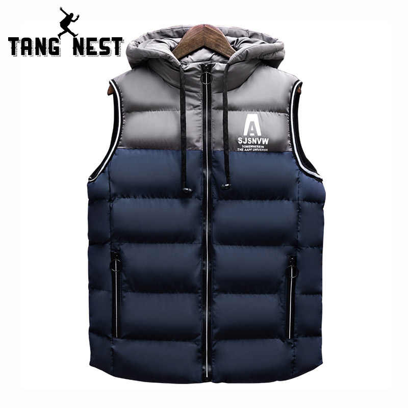 TANGNEST Men's Vest 2018 Winter Colorblock Striped Vest Hooded Warm Vest  Fashion Hat Detachable Mens Vest MWB305