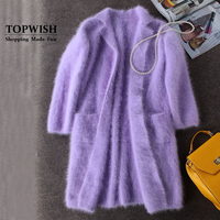 Luxury Long Mink Cashmere Coat Women Fashion Real Mink Cashmere Long Jacket Wholesale Retail Custom big size and color TFP830