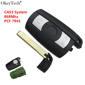 Okeytech voiture Smart télécommande clé 868 MHz pour BMW 1/3/5/7 série CAS3 X5 X6 Z4 voiture contrôle émetteur avec puce PCF7945