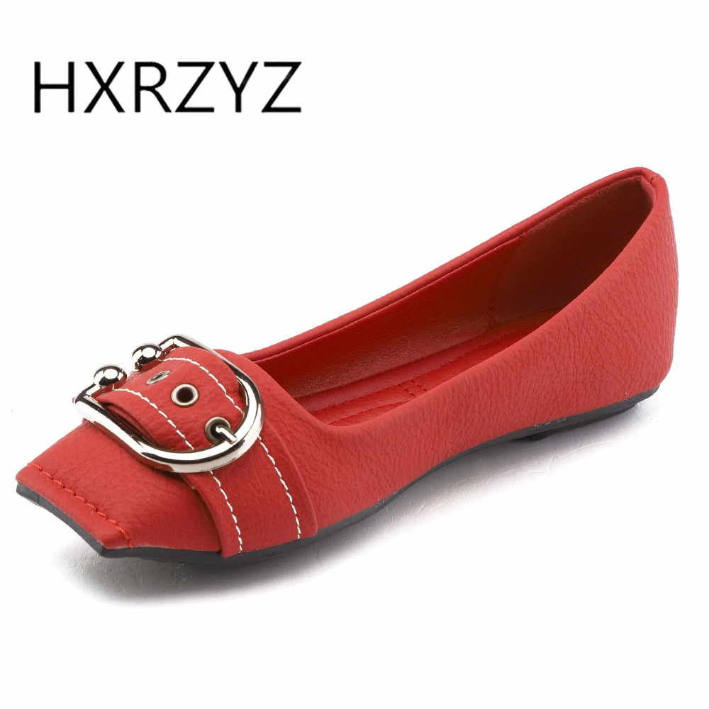 HXRZYZ large size women black flat shoes female leather loafers spring/autumn new fashion pointed toe metal buckle casual shoes women ladies flats vintage pu leather loafers pointed toe silver metal design