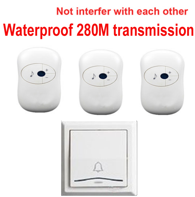 1 emitter+3 receivers doorbell Waterproof 280m work wireless doorbell,wireless door chime,wireless bell, 36 melodies door bell 2 receivers 60 buzzers wireless restaurant buzzer caller table call calling button waiter pager system