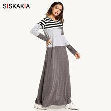 fdf9728c92980 Siskakia Cep Yama çizgili Renk blok maxi elbiseler Kadın bahar 2018 uzun  kollu T SHIRT elbise Müslüman kadınlar ev giyim elbise