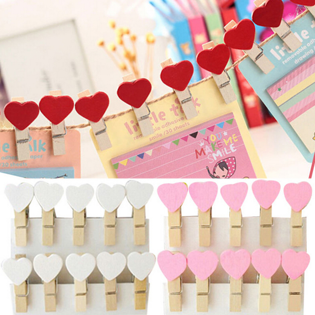 20 Pcs Colored Mini Love Heart Wooden Office Supplies Craft Memo Clips DIY Clothes Paper Photo Peg Decoration 3x0.7cm kawaii owl wooden clip photo paper craft diy clips with hemp rope fod