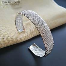 CharmHouse 925 Silver Bangles For Women Brand Cuff Bangle & Bracelet Wristband Pulseira Femme Wedding Jewelry Accessories Gifts(China)