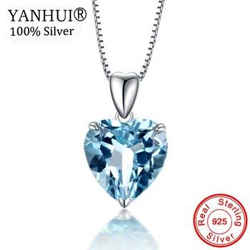 132bc3fc5b41 YANHUI Original 925 Plata océano colgante de corazón collares para mujer  azul de diamantes de imitación