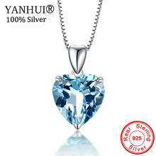 YANHUI Original 925 Silver Ocean Heart Pendant Necklaces For Women Blue Crystal Rhinestone Cho...