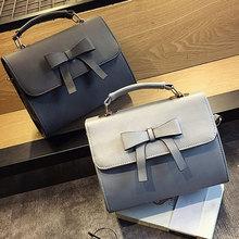 купить New Fashion Bowknot Women Messenger Bag Solid Color PU Leather Shoulder Bag Crossbody Small Girls Bag  по цене 1143.05 рублей