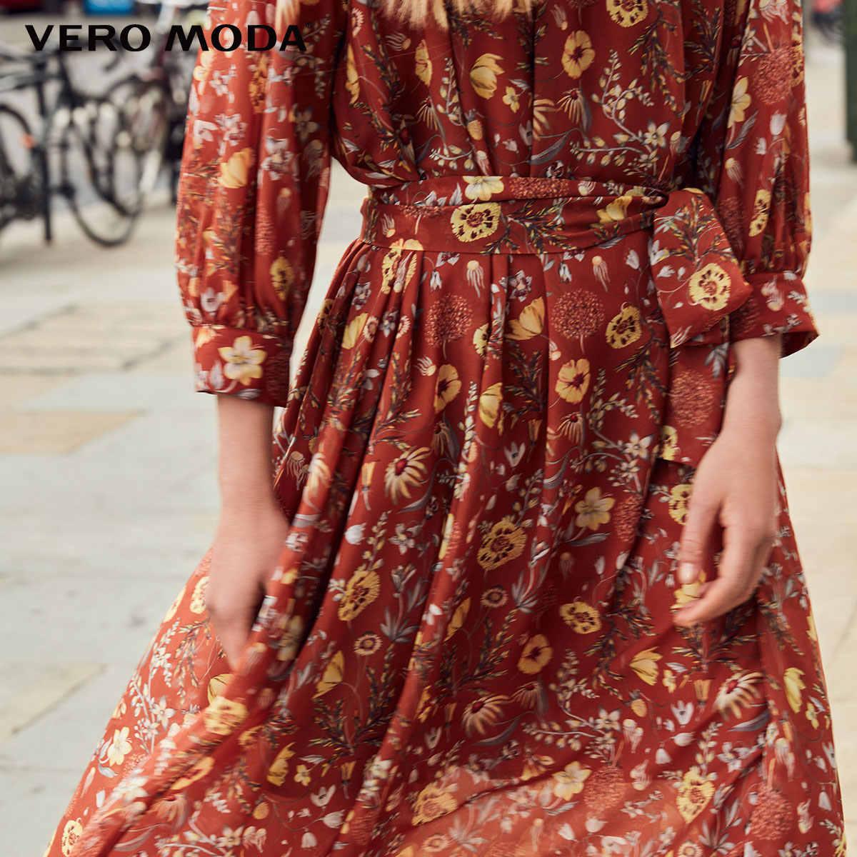 Vero Moda 2019 Новое Женское с низким вырезом круглый вырез шар 3/4 рукава Печатный шифон платье   31837C515