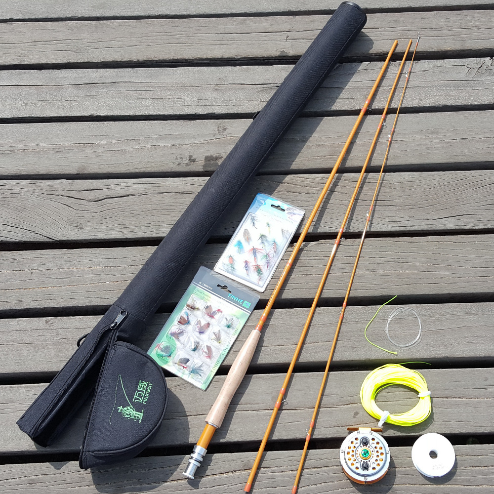bamboo looking carbon fly fishing rod set 2.7 meters 3 sections metal wheel line 5 6 free shipping 5 6 4 segments sections fly fishing rod full metal reel water proof rod bag lines box lure set kit