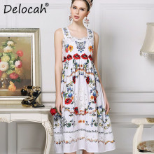 Delocah Fashion Designer Summer Women Dresses Spaghetti Strap Gorgeous Flower Embroidery White Elegant Holiday Dress vestido
