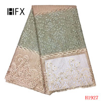 HFX Nigerian Lace Fabrics Dubai Party Dress Net Lace Tulle French Wedding Lace 2019 High Quality Embroidered Mesh Fabric X1927