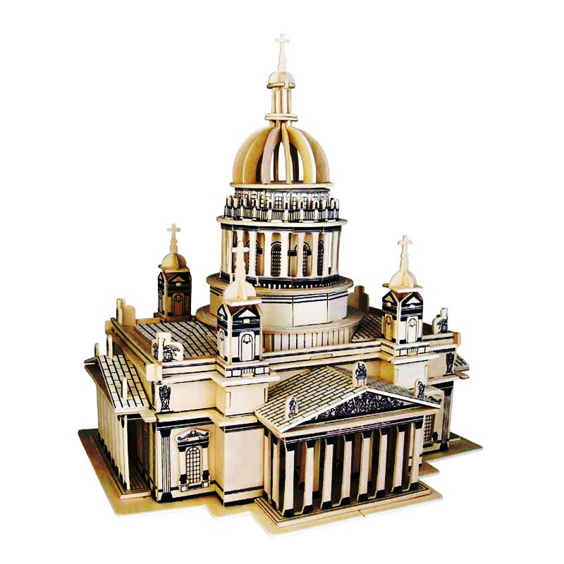 лучшая цена 3D Wooden Puzzle Children's And Adult Model The Saint Isaac's Cath A Kids Toy Of The Famous Building Series A Best Gift For Kids