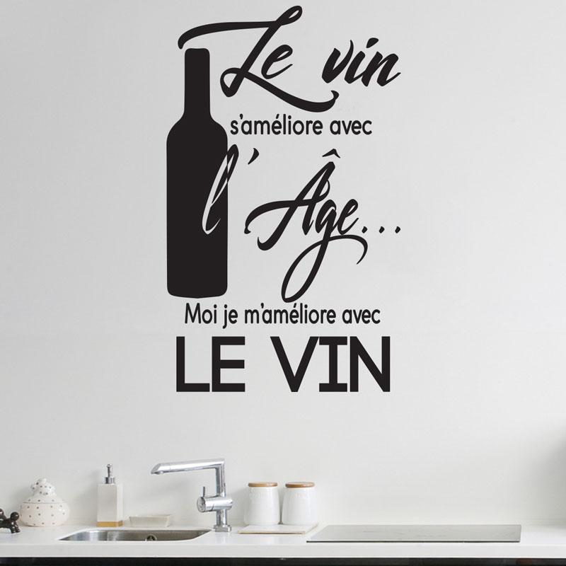 Décalcomanie de Cuisine citations en français le-vin-s-ameliore-avec-l-age mode Cuisine vinyle autocollant salle à manger décoration bricolage déco CK15