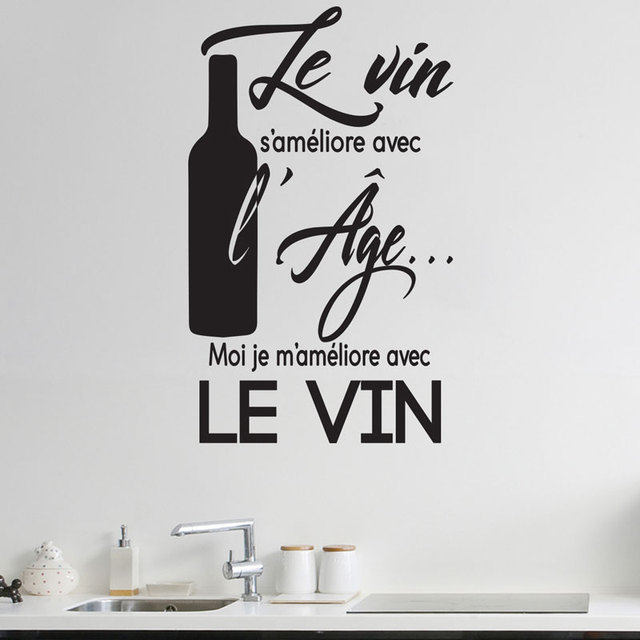 Kitchen Decal Quotes In French Le Vin S Ameliore Avec L
