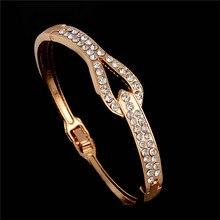 Shuangr горячая Распродажа модные браслеты со стразами розовое золото-цвет браслет для женщин Pulseiras женские украшения TZ329