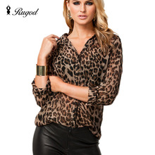 Women Chiffon Blouse Shirt High Street Sexy Leopard Print Semi-sheer Long Sleeve Loose Casual Top Plus Size blusas femininas