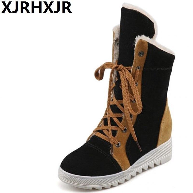 XJRHXJR Woman Warm Shoes Winter Fur Boots Fashion Lace Up Platform Dress Shoes Ladies Plush Mid Calf Boots Big Size 34-43