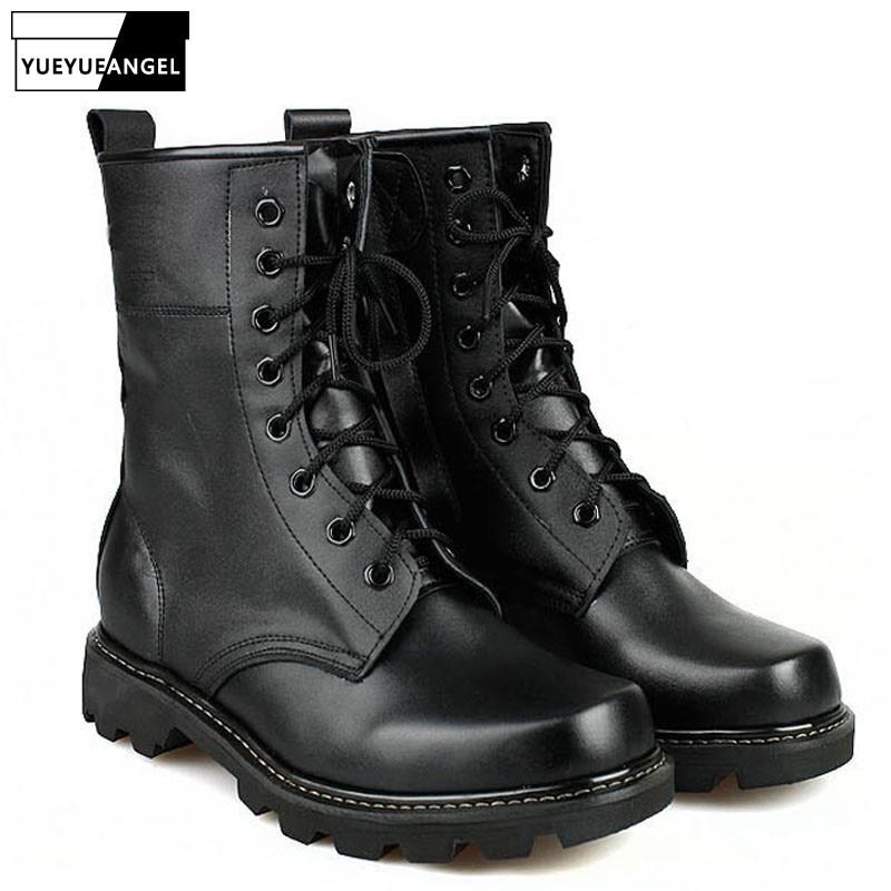 Pavasario Naujosios mados vyrų kariniai batai žmogui plieno apvalios kojos kariuomenės batai Taktiniai nėriniai - koviniai batai - juoda spalva