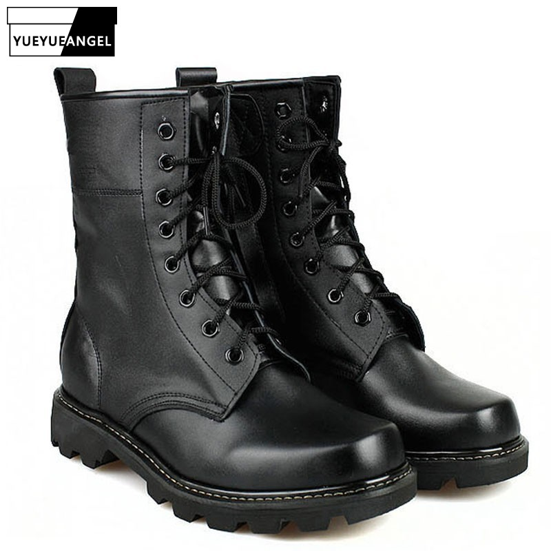 Spring New Fashion Mens Military Boots For Man Steel Round Toe Army Boots Tactical Lace Up Combat Boots Black Color