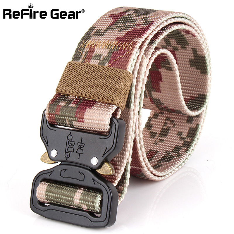 Apparel Accessories Charitable Refire Gear Tactical Military Equipment Army Belt Men Swat Metal Knock Off Camouflage Combat Belt Sturdy 800d Nylon Belts 3.8cm