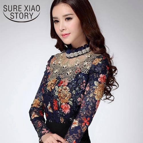 2016 Women new fashion Lace casual blouse top Diamond lace print sexy women clothes 3115