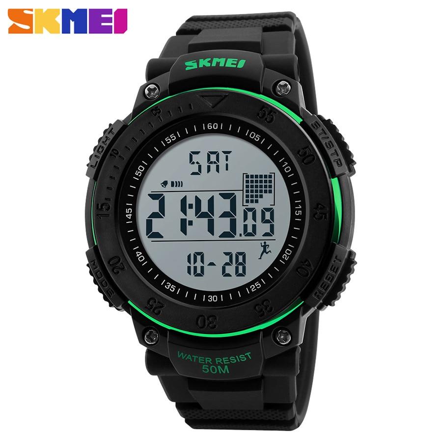 SKMEI Men 3D Pedometer Multifunctional Sports Watches Relojes Waterproof Relogio Masculino LED Digital Male Wristwatches 1238