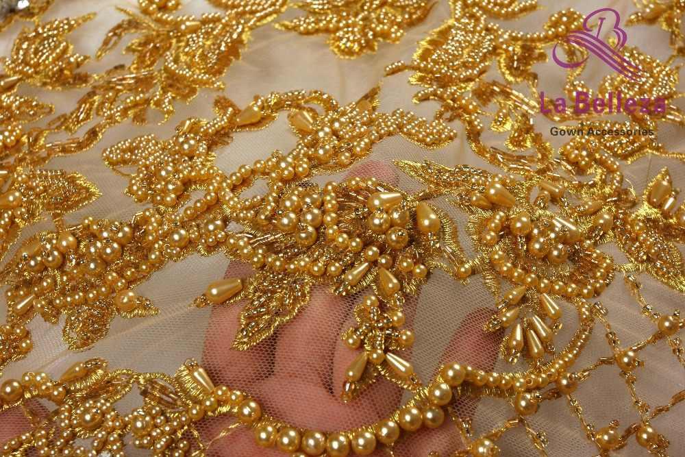 La Belleza, новый модный дизайн, супер тяжелое, ручная работа, бисер, кристаллический жемчуг, серый/слоновая кость/золотое свадебное платье, кружевная ткань, 1 ярд