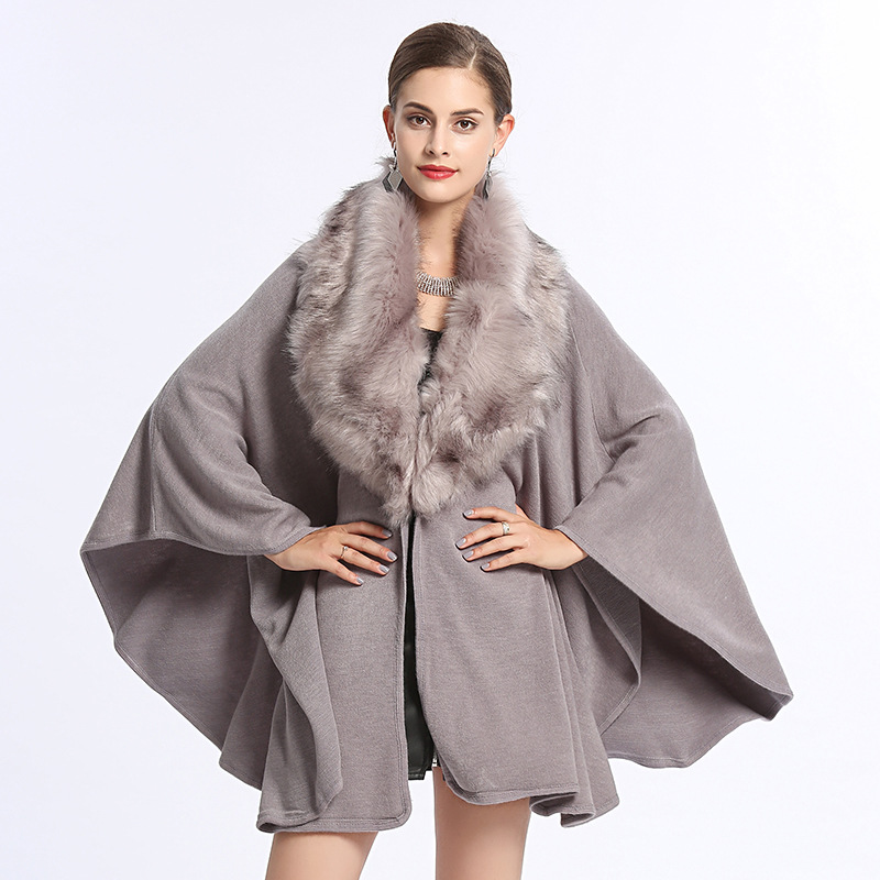 2019 new arrival women Faux fox fur big fur collar loose large size knitted shawl cloak sweater knitted cashmere lady wrap cape