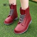 WEISE Moda de Las Mujeres Botas de Lluvia de Goma 3 Colores Del Caramelo Tacones Altos Rainboots Goma de Mitad de la Pantorrilla Con Cordones de Agua zapatos