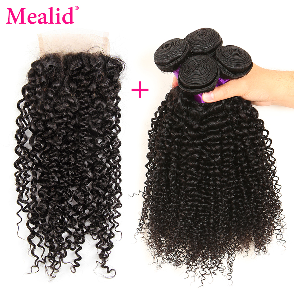 Mealid Malaysian Curly Hair With Closure Free Part Non-remy Natural Color Human Hair Bundles With Closure 100%hair