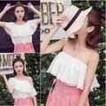 Corea del estilo de moda lindo fresco sin tirantes volantes camisa blanca de cuello de cobertura (algodón cuello) Sólo la ropa