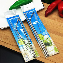 2 Pcs/Set Thick Metal Drinking Straw Reusable Premium 304 Stainless Steel Drinking Straws Straight Tube With Cleaner Brush