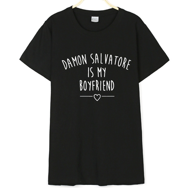 Factory Seller!!! Damon Salvatore Is My Boyfriend Letters Print Men Loose   T  -  shirts   Casual Cotton Vampire Diaries   T  -  shirt     Shirt